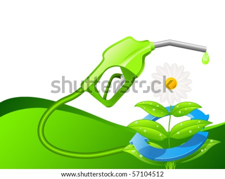 gas pump and flower - vector illustration