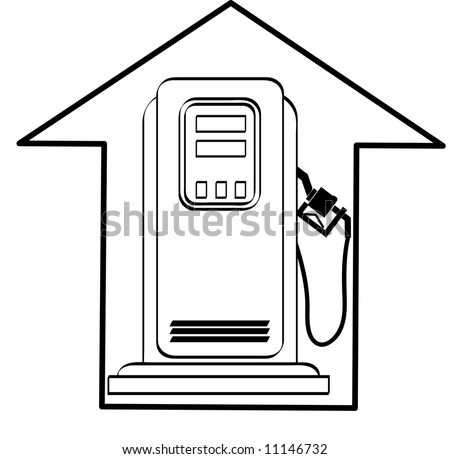 gas pump and up arrow - rising cost of fuel - vector - stock vector