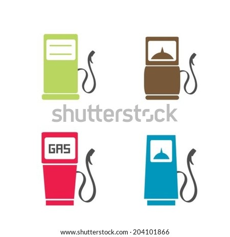 Gas pump flat icon - stock vector