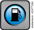 gas pump icon checkered web button - stock vector