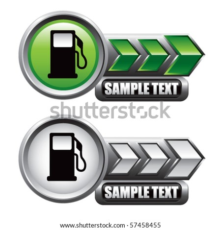 gas pump icon green and white arrow nameplates - stock vector