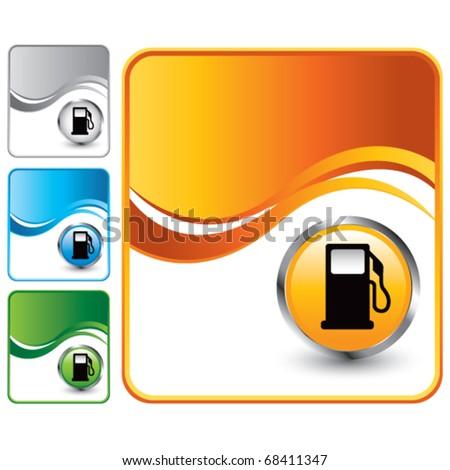 gas pump icon orange wave background - stock vector