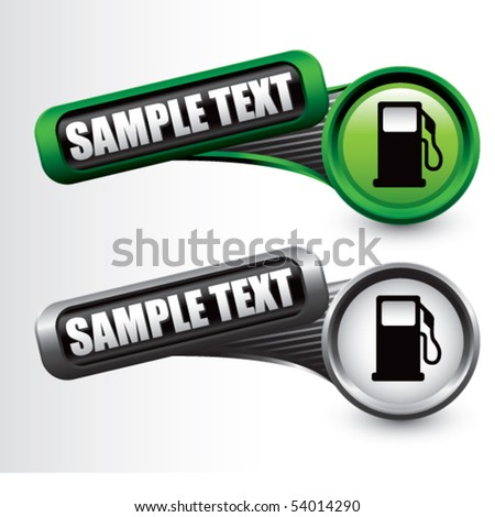 gas pump icon tilted green and gray banners - stock vector