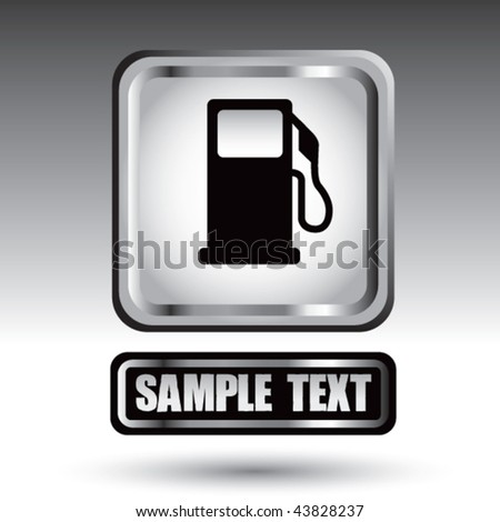 gas pump icon white icon over black nameplate - stock vector