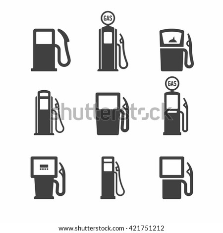 Gas pump icons. Vector illustration. - stock vector