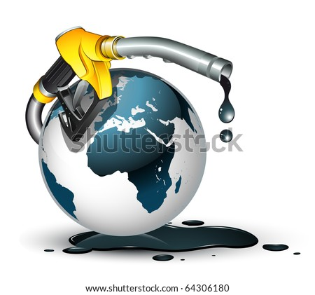 gas pump nozzle and globe - stock vector