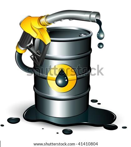 gas pump nozzle and oil barrel - stock vector