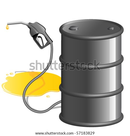 gas pump nozzle and oil barrel
