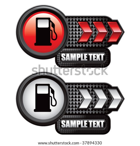 gas pump on red and white arrow banners - stock vector