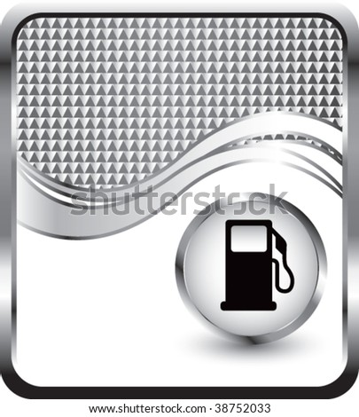 gas pump on silver checkered wave background - stock vector