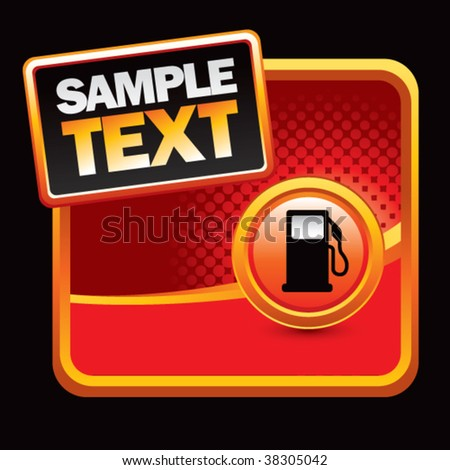 gas pump silhouette on red halftone template - stock vector