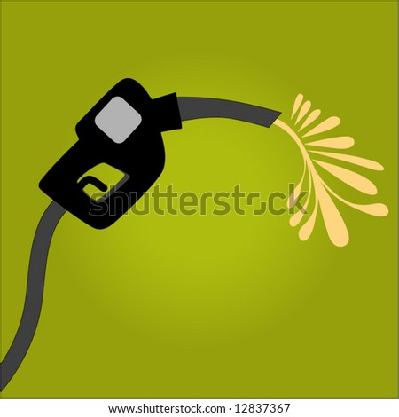 gas pump with gas spilling out - stock vector