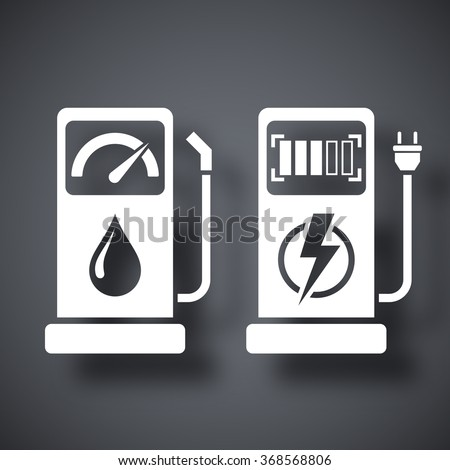 Gas station and charging station for electric car, vector icon - stock vector