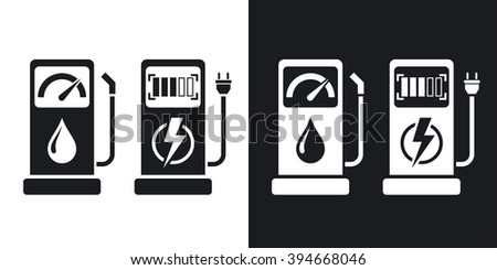 Gas station and charging station for electric car, vector icon. Two-tone version on black and white background