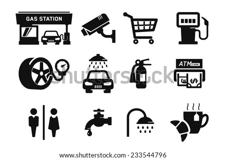 Gas station and Fuel pump icons set // 04 - stock vector