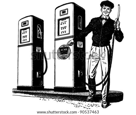 Gas Station Attendant 2 - Retro Clipart Illustration - stock vector