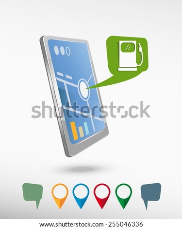 Gas station icon and perspective smartphone vector realistic. Set of bright map pointers for printing, website, presentation element and application mockup. - stock vector
