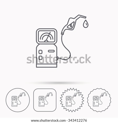 Gas station icon. Petrol fuel pump sign. Linear circle, square and star buttons with icons. - stock vector