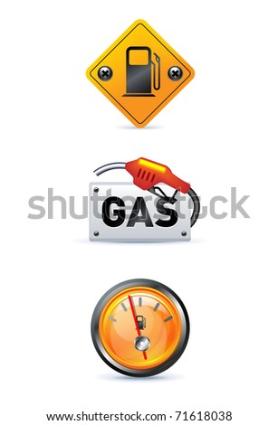 gas station icon set on white - stock vector
