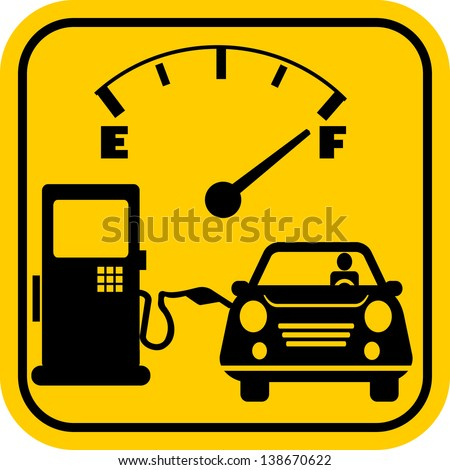 Gas station icon with car and fuel pump - stock vector