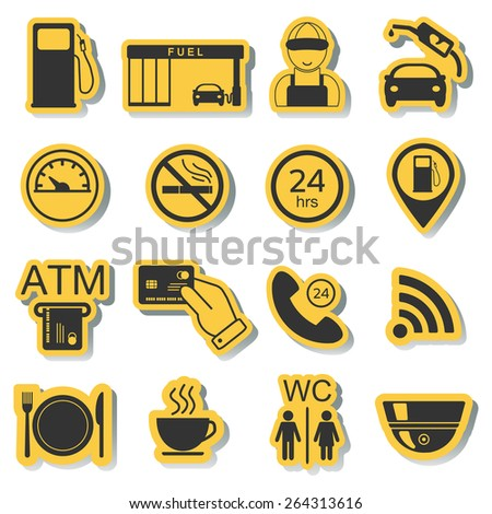 Gas station icons. Fuel icons. Stickers. Vector illustration - stock vector