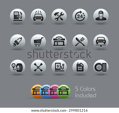 Gas Station Icons // Pearly Series ----- The Vector file includes 5 color versions for each icon in different layers ----- - stock vector