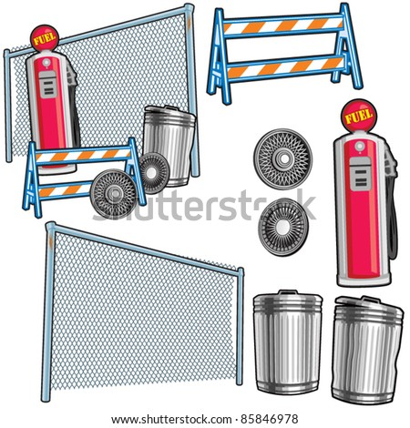 Gas Station Props - stock vector