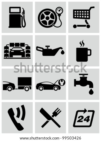 Gas station service icons set. - stock vector