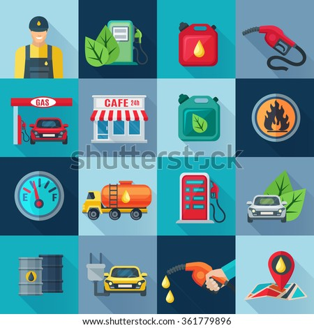 Gas station square icons set with fuel and and oil industries symbols shadow flat isolated vector illustration