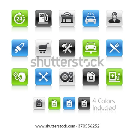 Gas Station / The file Includes 4 color versions in different layers. - stock vector