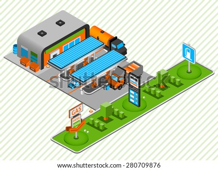 Gasoline and diesel power fuel plastic construction toy station with food shop isometric composition abstract vector illustration - stock vector