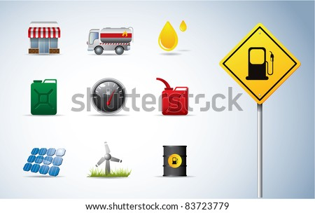 Gasoline, oil and energy icons - stock vector