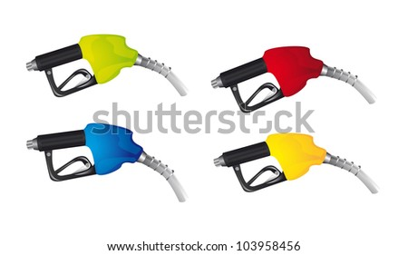gasoline pump isolated over white background. vector - stock vector