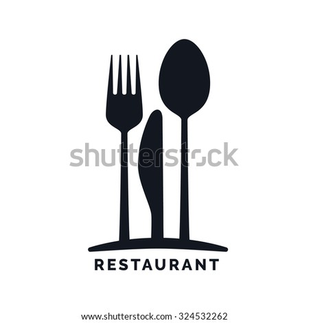 Gastronomy - Restaurant symbol, fork, knife and spoon, logo template - stock vector