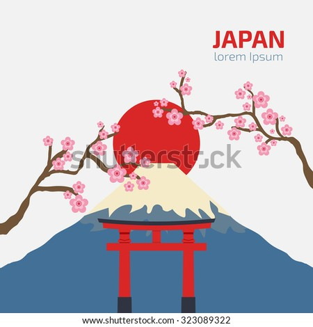 gate Torii, Mount Fuji, Japan with sakura branch, Travel and tourism concept, japanese style vector Illustration - stock vector