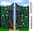gates and roses - stock vector