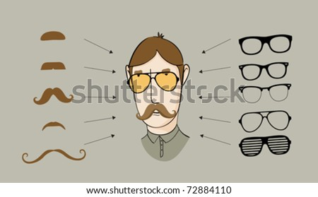 Gather your character (set of objects) - stock vector