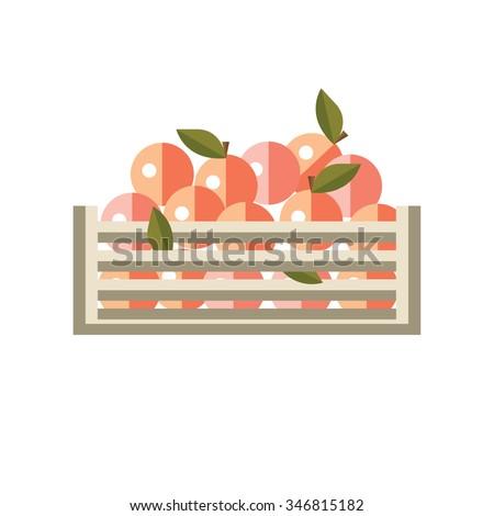 Gathering peaches. Flat style vector illustration. - stock vector