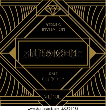 Gatsby art deco vintage frames design stock vector 2018 323591288 gatsby art deco vintage frames and design elements art deco wedding invitation card vector stopboris