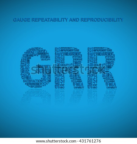 Gauge repeatability and reproducibility typography background. Blue background with main title GRR filled by other words related with gauge repeatability and reproducibility method