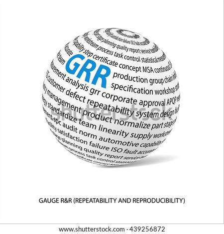 Gauge repeatability and reproducibility word ball. White ball  with main title GRR and filled by other words related with GRR study. Vector illustration