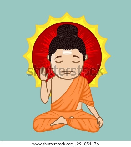 Gautam Buddha - Dhyaan - Prcatice of Yoga - stock vector