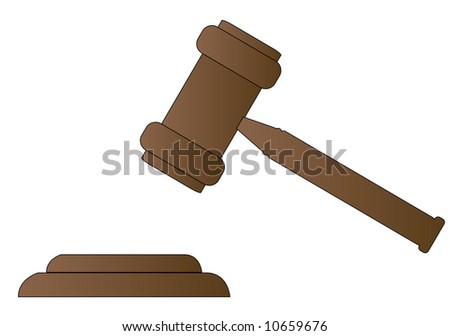 gavel - hammer of judge or auctioneer - vector - stock vector