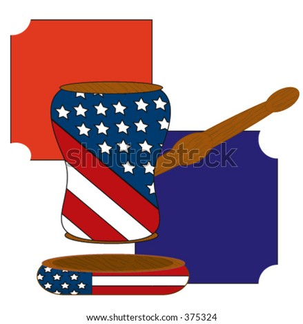 Gavel in a court of law with the american flag on it symbolizing the american form of government. - stock vector