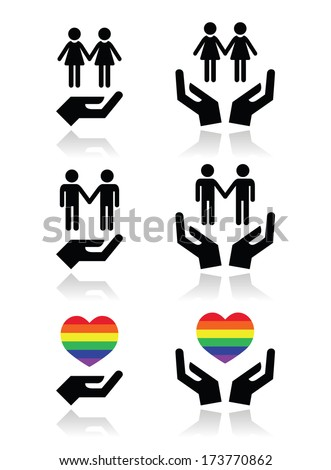 Gay and lesbian couples, rainbow flag with hands icons set  - stock vector