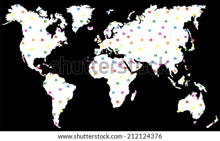 Gay and lesbian love couples as they want to live in peace and freedom all over the world. Vector illustration on black background. - stock vector