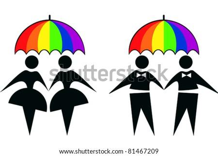 gay and lesbian under rainbow umbrella - stock vector