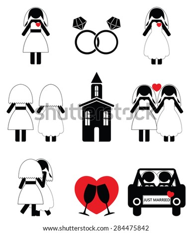 Gay man wedding 2 icons set  - stock vector