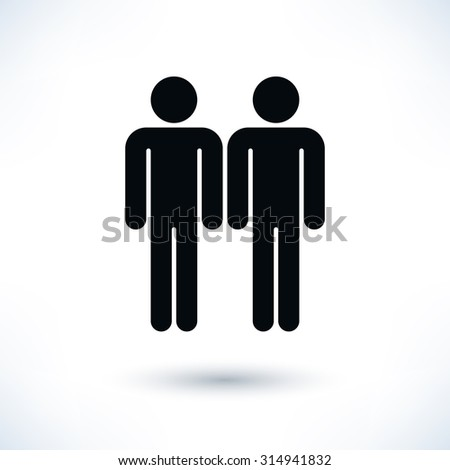 Gay marriage homosexual flat icon. Two black man's figure with gray drop shadow isolated on white background in flat style. Graphic design elements save in vector illustration 8 eps - stock vector