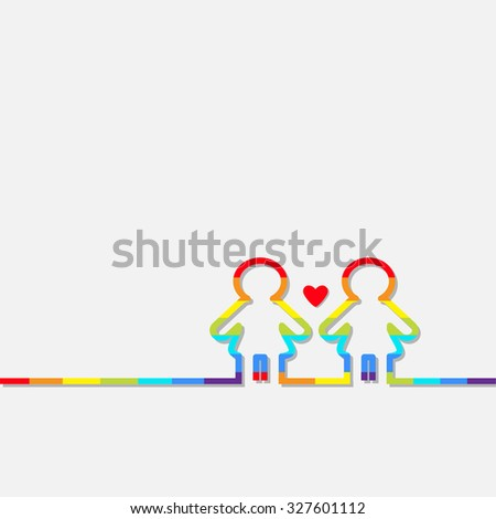 Gay marriage Pride symbol Two rainbow contour women sign with red heart Love LGBT icon Flat design Vector illustration - stock vector